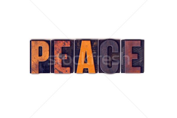 Paz isolado tipo palavra escrito Foto stock © enterlinedesign