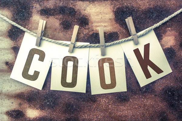 Cook Concept Pinned Stamped Cards on Twine Theme Stock photo © enterlinedesign