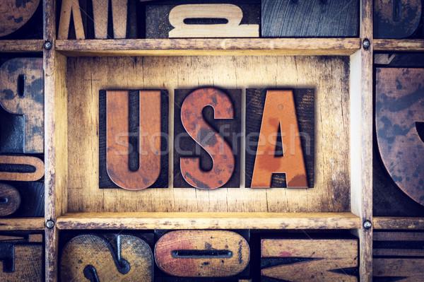 Stock photo: USA Concept Letterpress Type