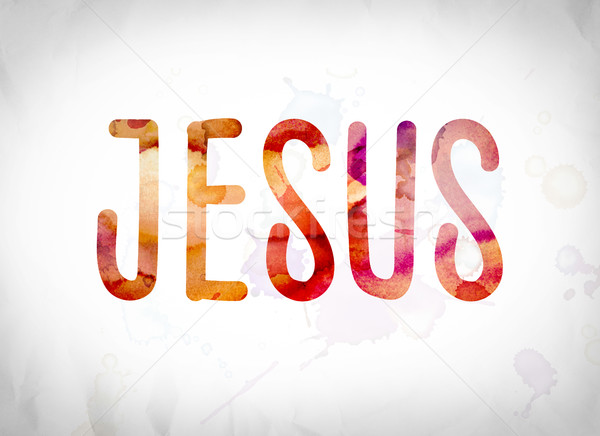 Jesus couleur pour aquarelle mot art écrit blanche Photo stock © enterlinedesign
