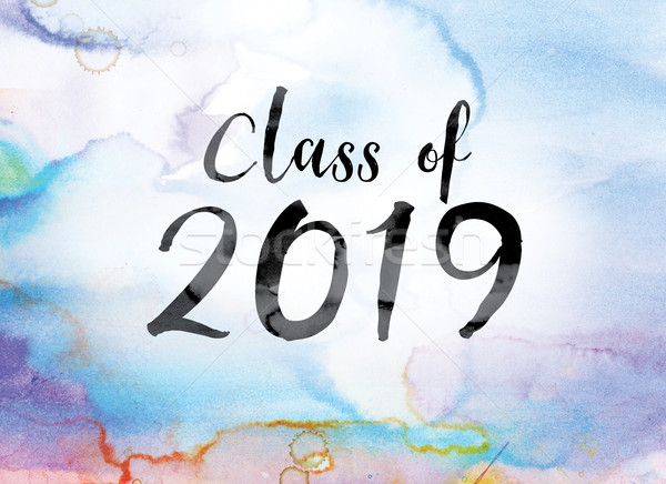 Class of 2019 Colorful Watercolor and Ink Word Art Stock photo © enterlinedesign
