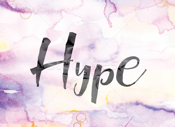 Hype Colorful Watercolor and Ink Word Art Stock photo © enterlinedesign