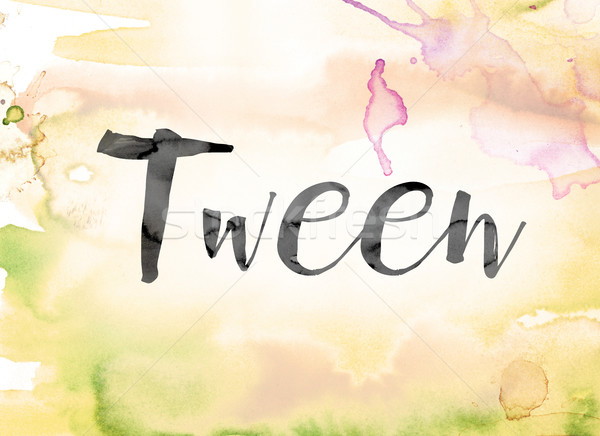 Tween Colorful Watercolor and Ink Word Art Stock photo © enterlinedesign