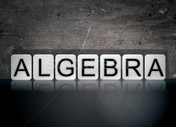 Algebra piastrellato parola scritto bianco piastrelle Foto d'archivio © enterlinedesign