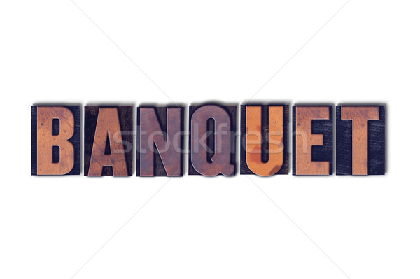 Banket geïsoleerd woord geschreven vintage Stockfoto © enterlinedesign