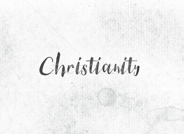 Christianisme peint encre mot noir couleur pour aquarelle Photo stock © enterlinedesign