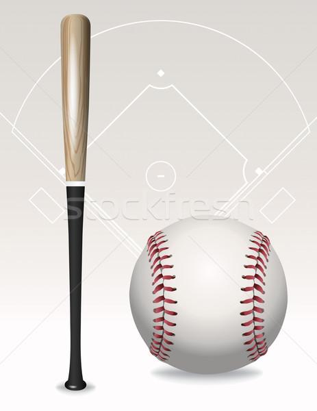 Beysbol sopası top alan elemanları örnek Stok fotoğraf © enterlinedesign
