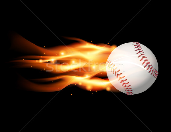 Vlammende baseball illustratie vliegen vector eps Stockfoto © enterlinedesign