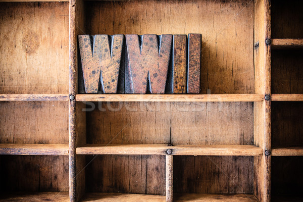 WWII Concept Wooden Letterpress Theme Stock photo © enterlinedesign