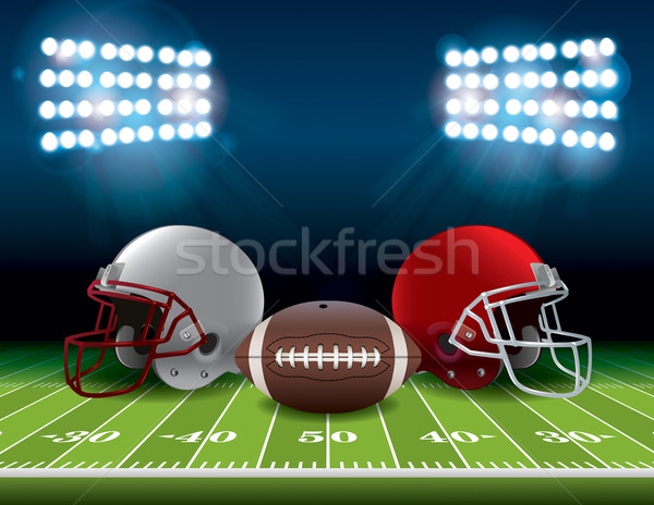 American Football Field with Helmets and Ball Illustration Stock photo © enterlinedesign