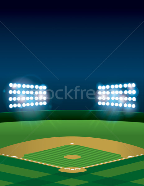 Baseball or Softball Field at Night Stock photo © enterlinedesign