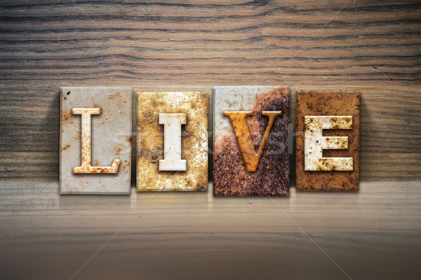 Live Concept Letterpress Theme Stock photo © enterlinedesign