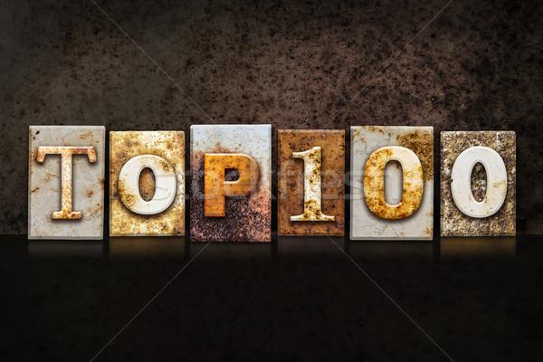 Felső 100 magasnyomás sötét szó írott Stock fotó © enterlinedesign