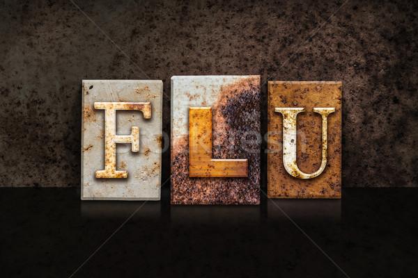 Flu Letterpress Concept on Dark Background Stock photo © enterlinedesign