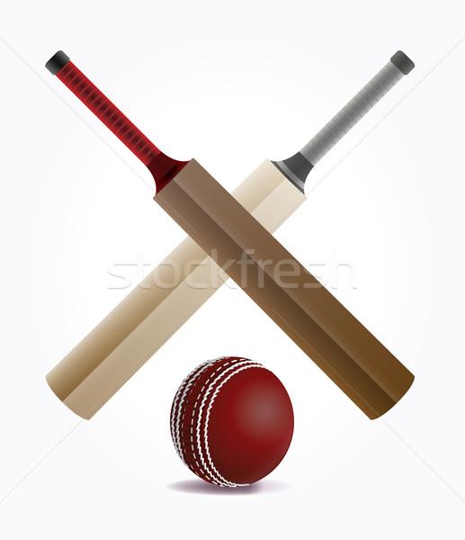 крикет мяча иллюстрация изолированный белый вектора Сток-фото © enterlinedesign