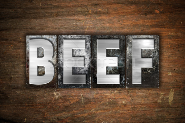 Beef Concept Metal Letterpress Type Stock photo © enterlinedesign