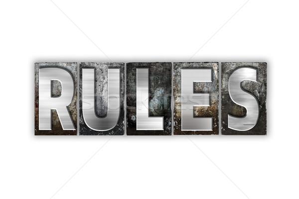 ルール 孤立した 金属 タイプ 言葉 ストックフォト © enterlinedesign