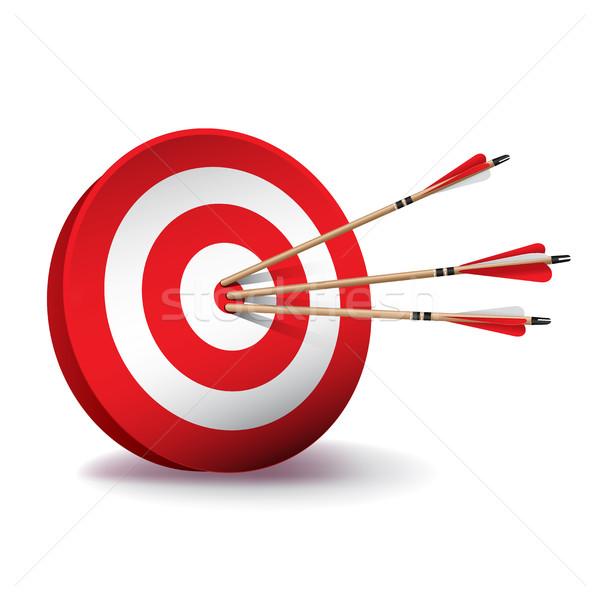 Kırmızı okçuluk hedef oklar örnek beyaz Stok fotoğraf © enterlinedesign