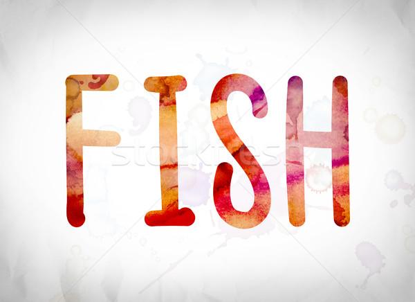 Fish Concept Watercolor Word Art Stock photo © enterlinedesign