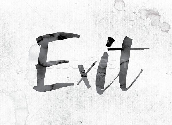 Uitgang geschilderd inkt woord aquarel witte Stockfoto © enterlinedesign