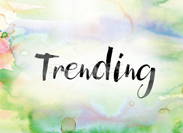 Trending Colorful Watercolor and Ink Word Art Stock photo © enterlinedesign