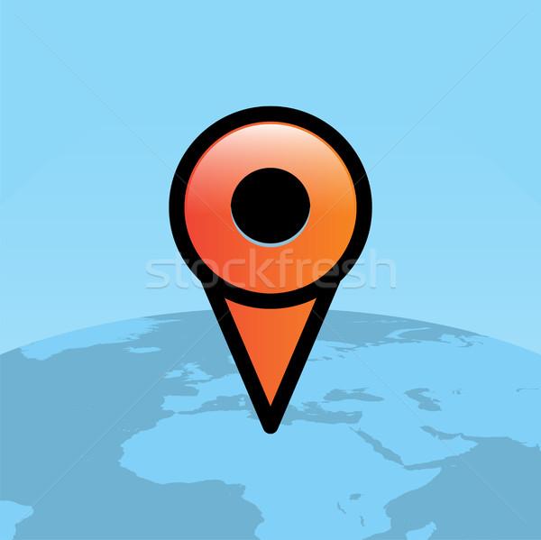 Orange Travel Map Pin Over World Globe Illustration Stock photo © enterlinedesign