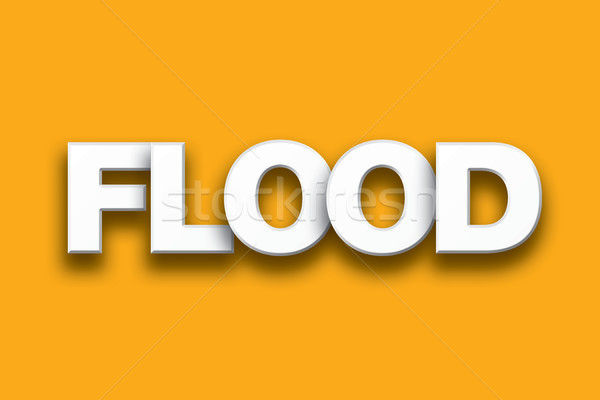 Flood Theme Word Art on Colorful Background Stock photo © enterlinedesign