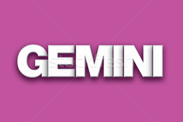 Gemini Theme Word Art on Colorful Background Stock photo © enterlinedesign