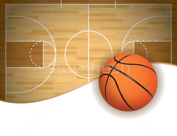 Basketball Court and Ball Background Stock photo © enterlinedesign