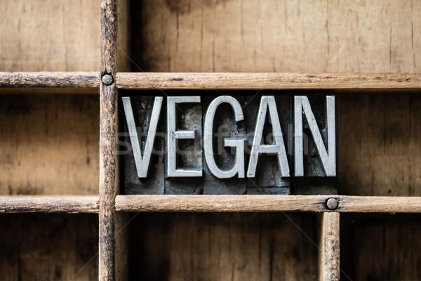 Vegan type tiroir mot écrit Photo stock © enterlinedesign