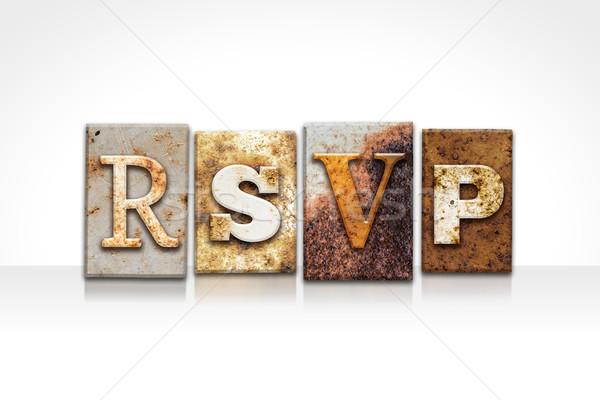 RSVP Letterpress Concept Isolated on White Stock photo © enterlinedesign