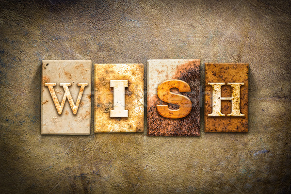 Wish Concept Letterpress Leather Theme Stock photo © enterlinedesign