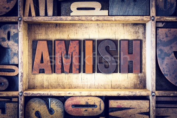 Amish Concept Letterpress Type Stock photo © enterlinedesign
