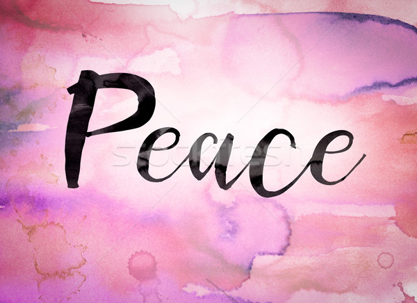 Foto d'archivio: Pace · acquerello · parola · scritto · nero · vernice