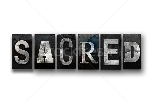 Sagrado aislado tipo palabra escrito Foto stock © enterlinedesign