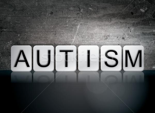 Autismo azulejos cartas palavra escrito branco Foto stock © enterlinedesign