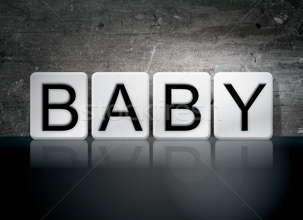 Bébé carrelage lettres mot écrit blanche Photo stock © enterlinedesign
