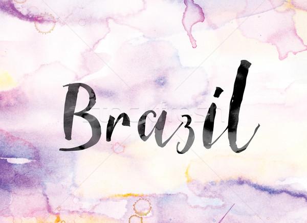 Бразилия красочный акварель чернила слово искусства Сток-фото © enterlinedesign