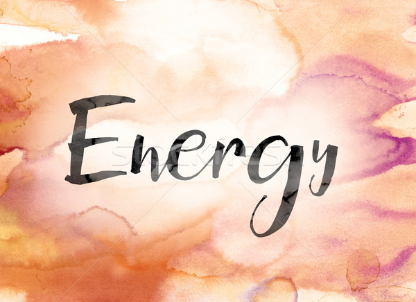 Energy Colorful Watercolor and Ink Word Art Stock photo © enterlinedesign