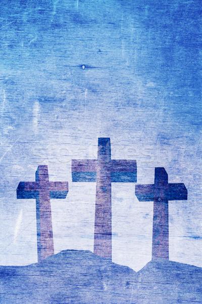 Three Christian Crosses on Calvary Background Illustration Stock photo © enterlinedesign