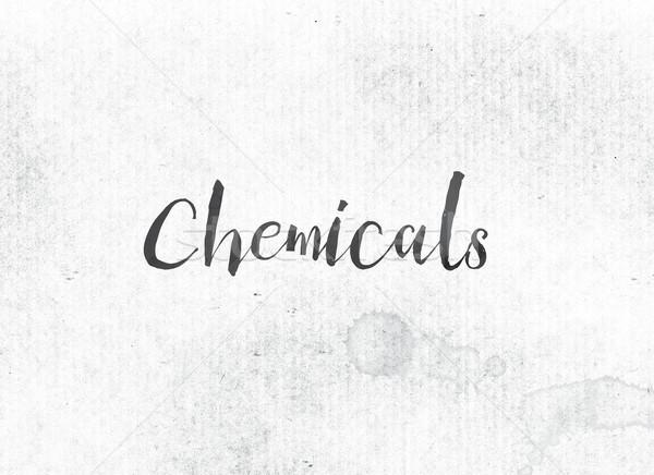 химикалии окрашенный чернила слово черный акварель Сток-фото © enterlinedesign