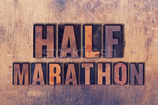 Marathon mot bois mots Photo stock © enterlinedesign