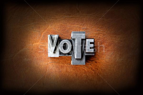 Szavazás szó klasszikus magasnyomás bőr Stock fotó © enterlinedesign