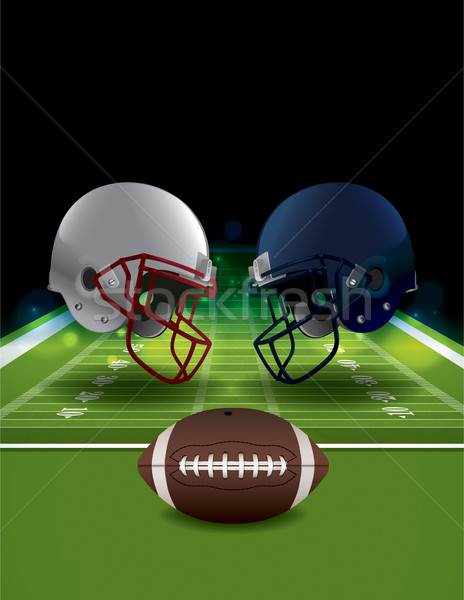 American Football Helmets Clashing on Football Field Stock photo © enterlinedesign