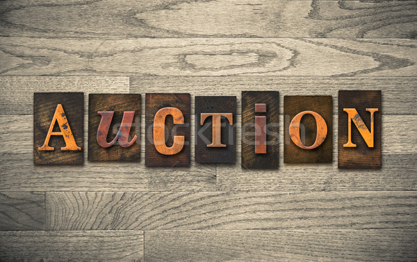 Stock photo: Auction Wooden Letterpress Theme