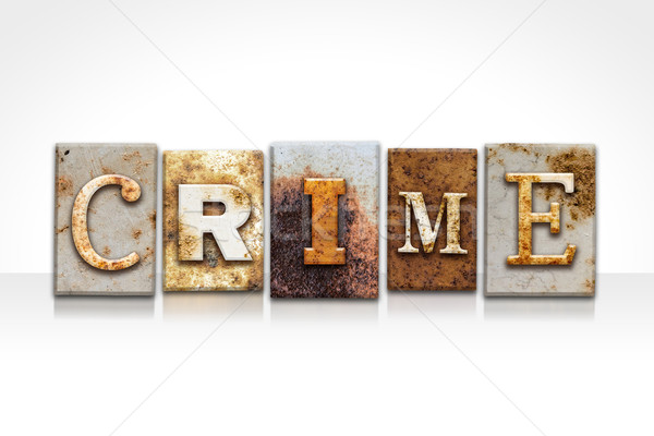 Suç yalıtılmış beyaz kelime yazılı Stok fotoğraf © enterlinedesign