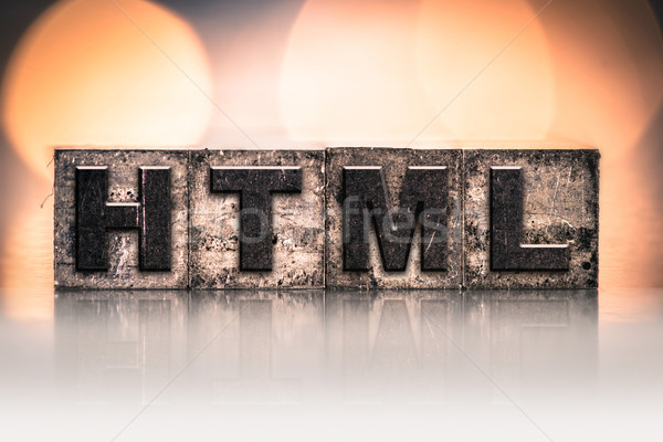 Html vintage type mot écrit Photo stock © enterlinedesign