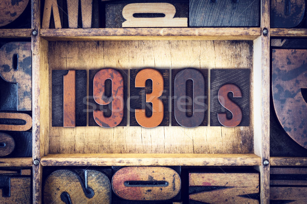 1930 type woord geschreven vintage Stockfoto © enterlinedesign