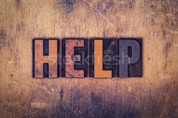 Helpen houten type woord geschreven Stockfoto © enterlinedesign
