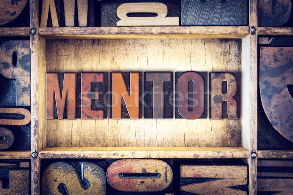 Mentor type mot écrit vintage Photo stock © enterlinedesign